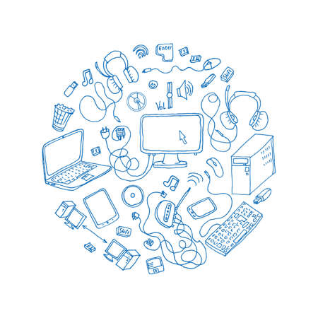 handheld device: a set of hand drawn doodles of electronic gadget. vector illustration