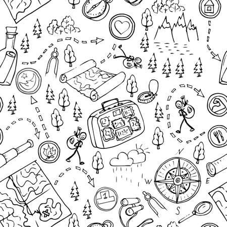 Hand drawn seamless pattern, maps, picnic, travel, hiking and camping