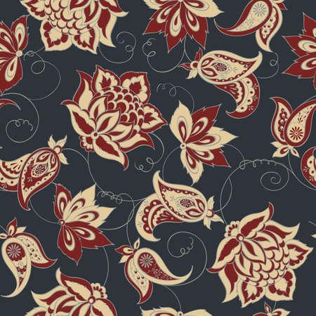 textile texture: Floral Paisley Pattern. Seamless Asian Textile Background Illustration