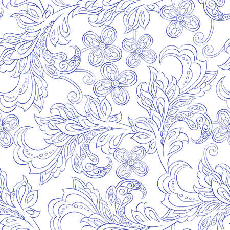 persia: seamless pattern with folkloric flowers Illustration
