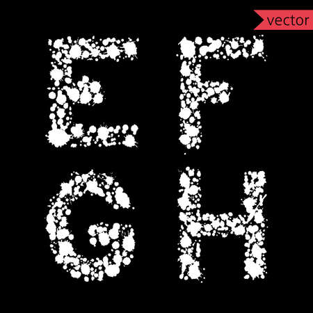 decorative letters: decorative letters E, F, G, H,  made from  drops and blots