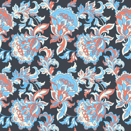 ethnic floral seamless pattern. folkloric batik vector ornament.