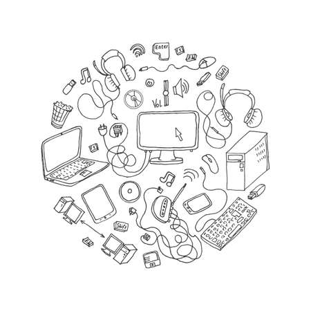 a set of hand drawn doodles of electronic gadget. vector illustration
