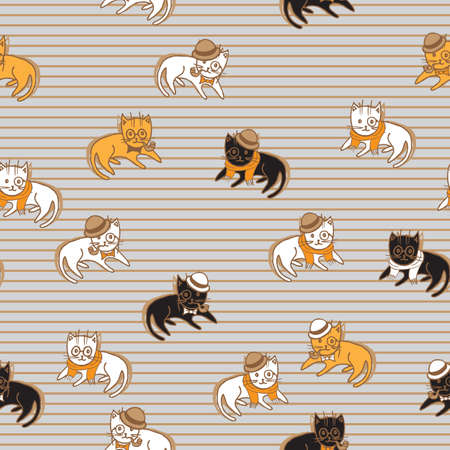black and red cat: colorful cats seamless pattern. pets vector illustration for kids design