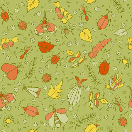 beetles: Colorful doodles Beetles Ants Butterflies foliage and needles. Insects seamless pattern. Kids vector illustration