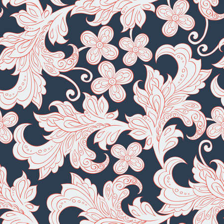 seamless pattern with folkloric flowers Illustration