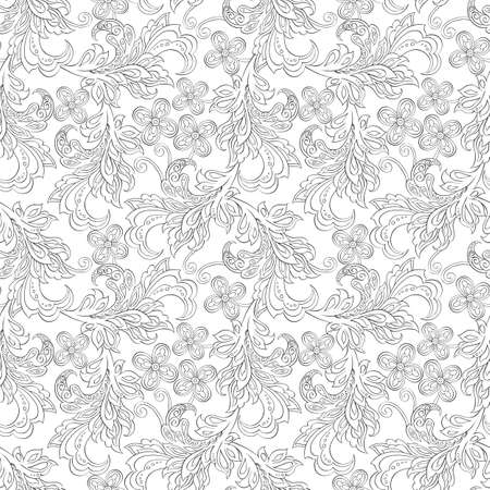 elegance: Elegance seamless pattern with ethnic flowers. Vector Floral Illustration in vintage style