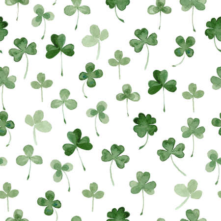 watercolor clover seamless vector pattern. hand draw leaves for St Patrick's day