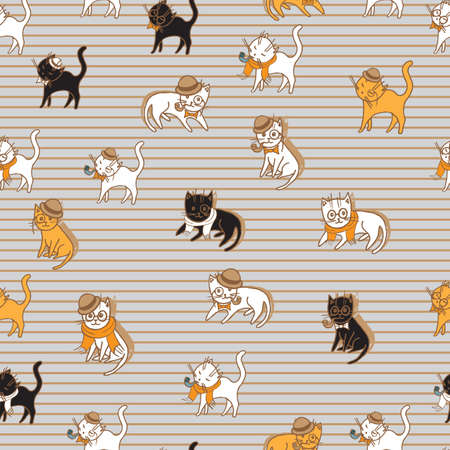 black and red cat: cute cats seamless pattern. pets vector illustration for kids design Illustration