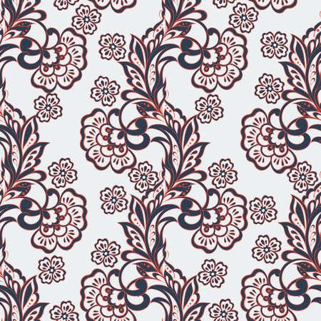 ethnic flowers seamless vector pattern. floral vintage background Illustration