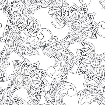 motif vintage dans le style de batik indien. floral, vecteur, fond
