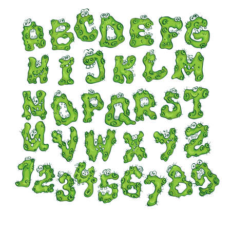 the spectre: Halloween alphabet with funny monster characters