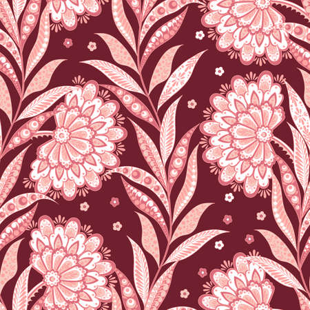 folkloric: Folkloric Batik vector ornament. Ethnic Floral seamless pattern Illustration