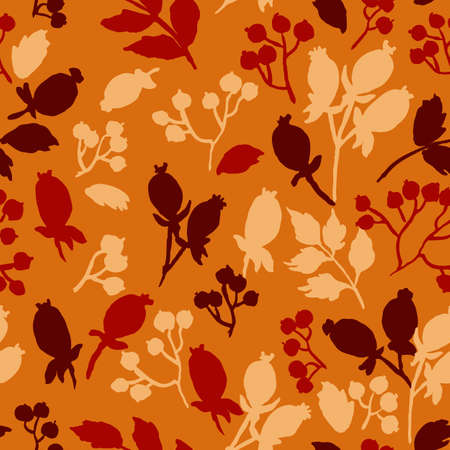 hand drawn silhouettes of berries seamless pattern. vector illustration for your design