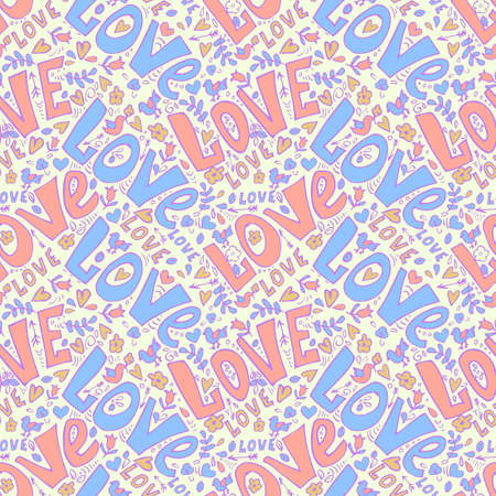 love seamless pattern. cute doodles seamless valentine day pattern Illustration