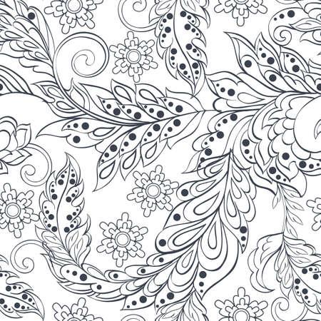 patrón de la vendimia en el estilo batic indio. Fondo floral del vector