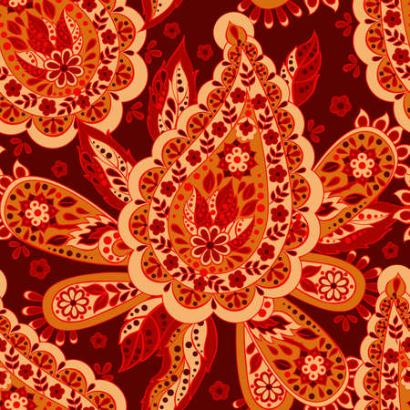 Paisley seamless asian pattern. Folklore vector background