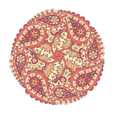 mandala with paisley ornament. isolated vector design element