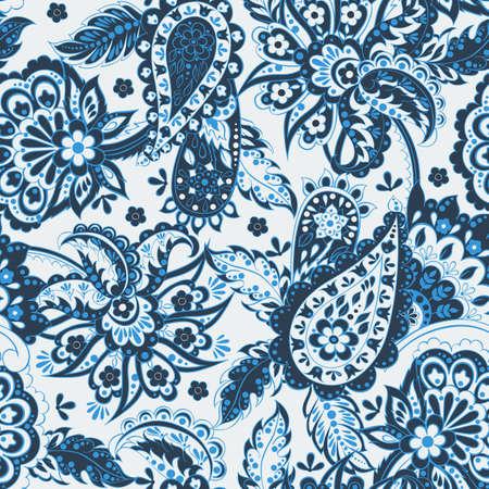 Bloemen naadloos patroon met paisley ornament. Vector illustratie in Aziatische stijl textiel