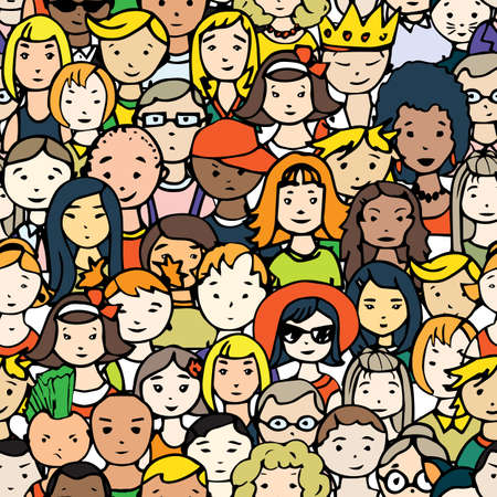 observers: Seamless pattern of hand drawn people faces. Vector illustration of crowd of people