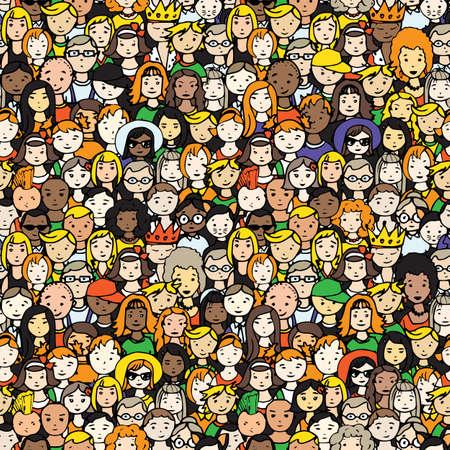 Nahtloses Muster der Menge von Leuten . Vektor-Illustration von Hand gezeichneten Menschen Gesichter Vektorgrafik