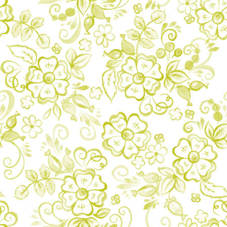 gzhel: Floral Watercolor seamless pattern in Russian Gzhel Style. Vector illustration