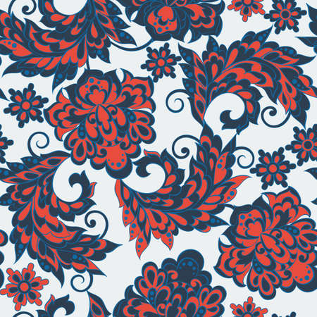 Asian flowers seamless pattern. Floral vector background. Illustration