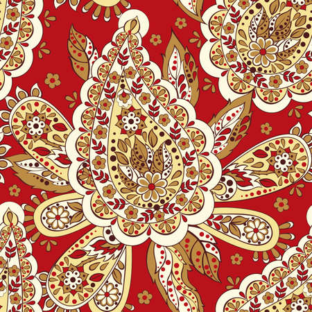 folklore: Paisley seamless asian pattern. Folklore vector background