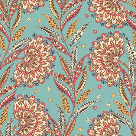 Folkloric Batik vector ornament. Ethnic Floral seamless pattern Ilustração