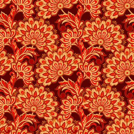 Elegance seamless pattern with ethnic flowers. Vector Floral Illustration in asian textile style