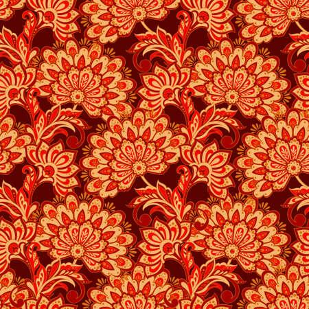 Eleganza seamless con fiori etnici. Illustrazione vettoriale floreale in stile tessile asiatico