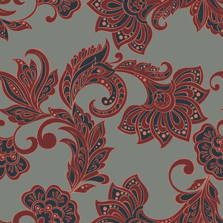 Floral pattern. Indian, damask seamless wallpaper. Vector background