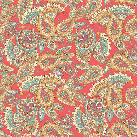 motif textile seamless paisley dans le style de batik asiatique