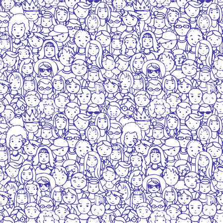 unrecognizable person: seamless pattern of crowd of people. illustration of people faces