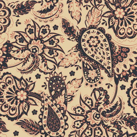 tile able: Floral seamless pattern with paisley ornament. illustration in asian textile style