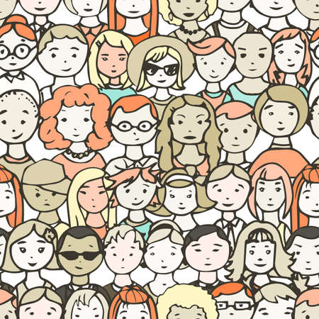 unrecognizable person: Seamless pattern of  people faces. illustration of crowd of people