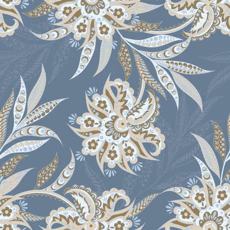 patrón de la vendimia en el estilo del batik indio. Fondo floral del vector