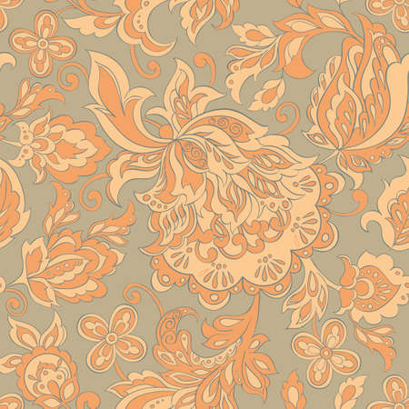 vintage floral pattern: folkloric flowers seamless pattern. ethnic floral vector ornament