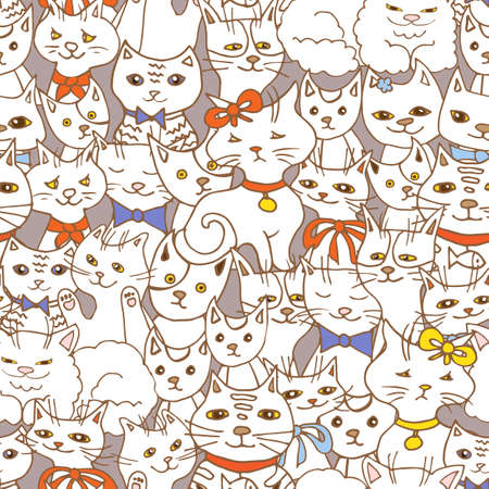 cute cats seamless pattern. pets vector background  イラスト・ベクター素材