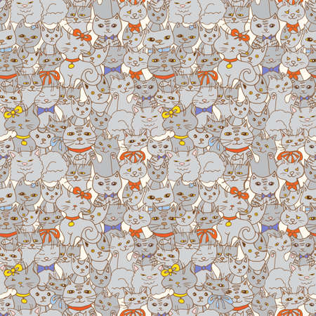 sly: funny cats seamless pattern. pets vector background
