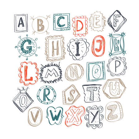 colorful hand drawn doodle alphabet. childish style vector illustration