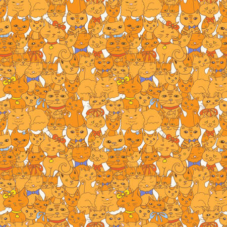 persian cat: funny cats seamless pattern. pets vector background
