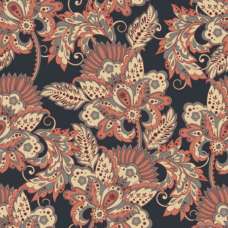 vintage flowers seamless pattern. Ethnic floral vector background Reklamní fotografie - 70819707