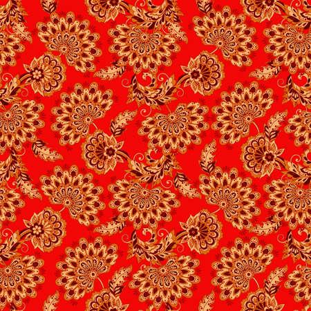 vintage: vintage flowers seamless pattern. Ethnic floral vector background