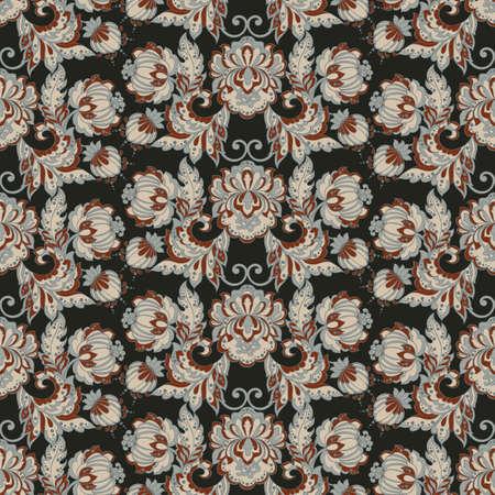 tillable: vintage floral pattern. seamless vector background Illustration