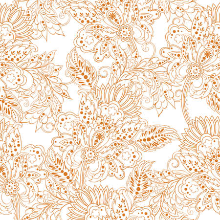 vintage pattern in indian batik style. floral vector background Illustration