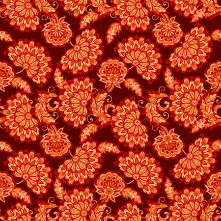 Vintage flowers pattern in Ethnic floral style.