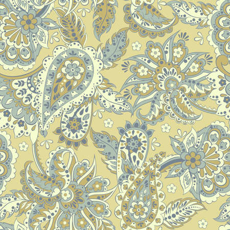 Paisley pattern with flowers in indian style.