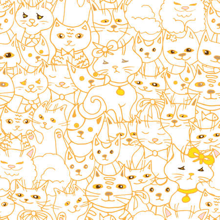 cute cats seamless pattern. pets vector background Illustration