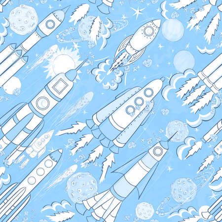 hand drawn space seamless pattern. kids vector background Illustration